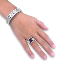 square cut purple amethyst gemstone ring in sterling silver