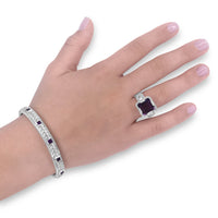 woven bracelet with square cut amethyst gemstones sterling silver