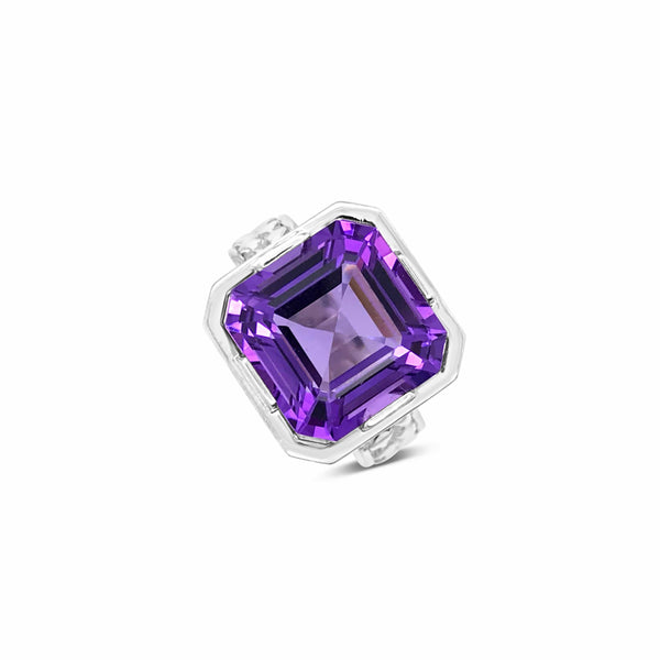 large sterling silver square cut amethyst herringbone ring