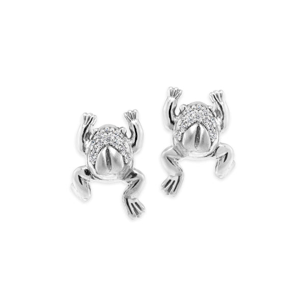 sterling silver frog earrings with diamonds
