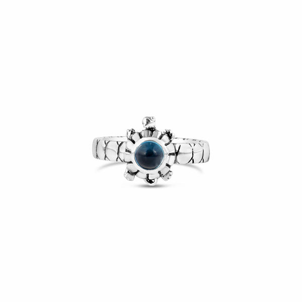 tiny silver turtle gemstone ring with blue topaz