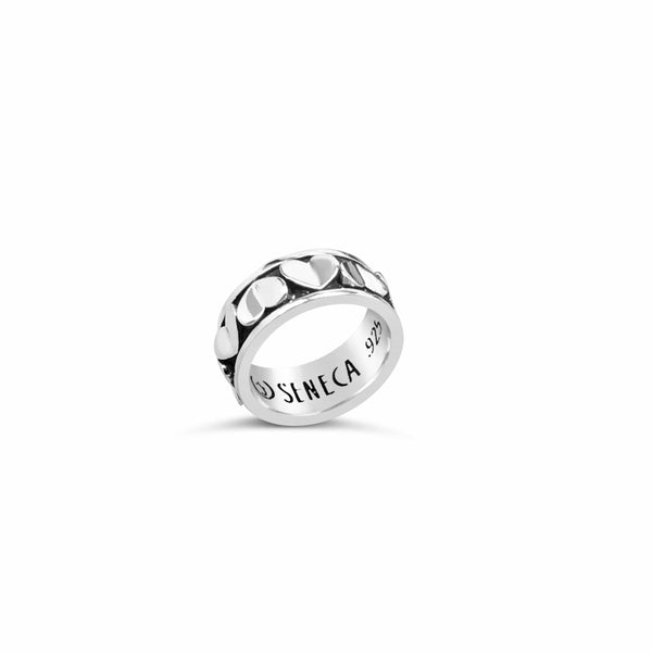 sterling silver wide love heart eternity ring