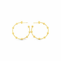 contemporary thin 18k gold ball wire hoop earring