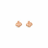 small rose gold bee earrings