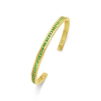 narrow gold tsavorite birthstone cuff bangle
