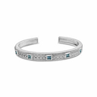 sterling silver princess cut blue topaz woven cuff bracelet