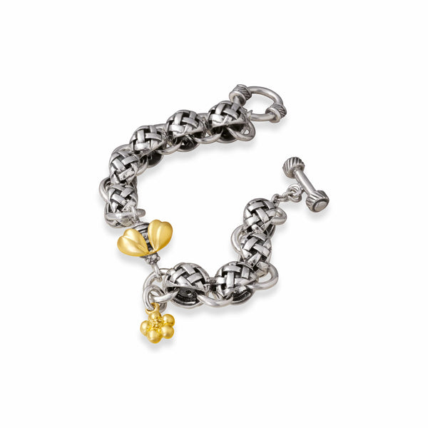 gold and silver bracelet with bee