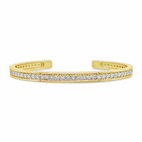 18k yellow gold and diamond stack bracelet