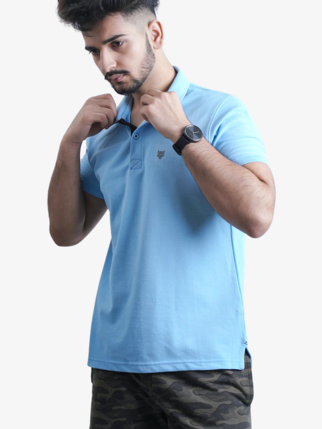 Sky Blue Solid Polo T-Shirt