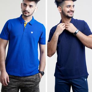 Polo T-shirt Combo-Navy Blue & Royal Blue