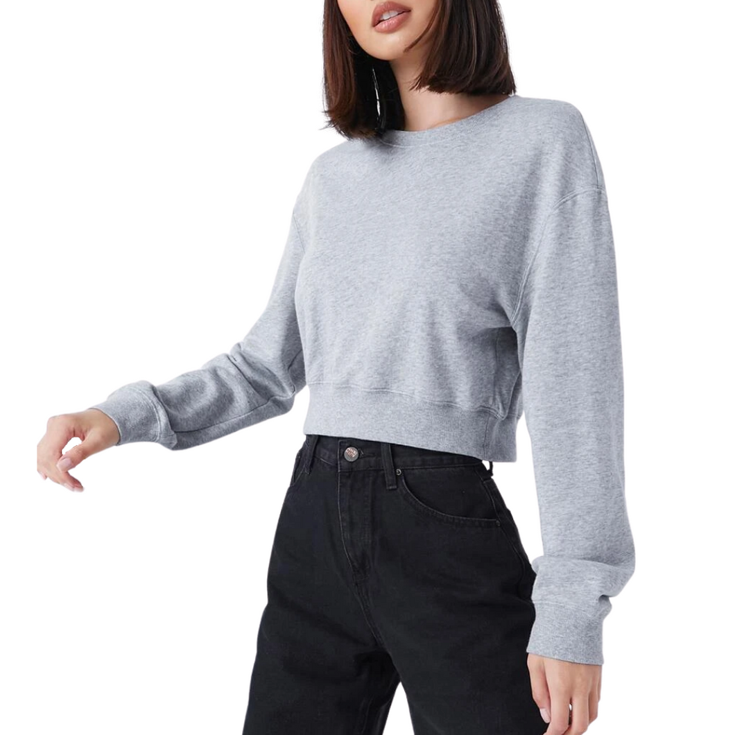 Grey Melange Crop Sweatshirt