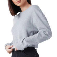 Load image into Gallery viewer, Grey Melange Crop Sweatshirt