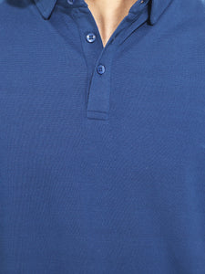 Navy Blue Solid Polo