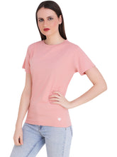 Load image into Gallery viewer, Peach Round Neck Half Sleeve T-Shirt