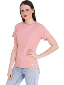 Peach Round Neck Half Sleeve T-Shirt