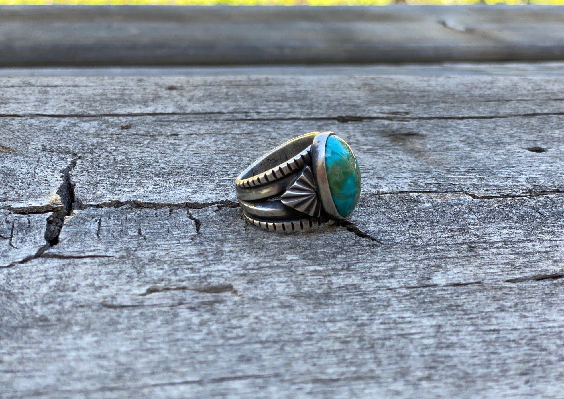silver and turquoise ring with Sierra Nevada turquoise side view