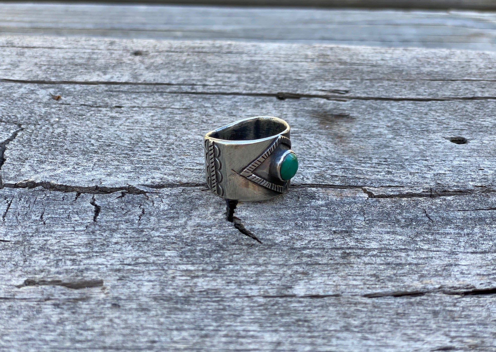 Southwest silver and turquoise ring with Nevada turquoise side view