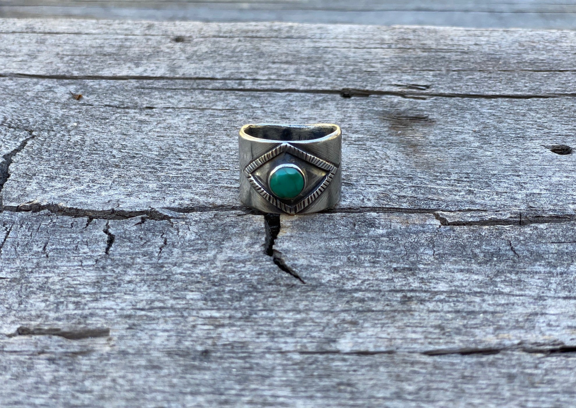 Southwest silver and turquoise ring with Nevada turquoise