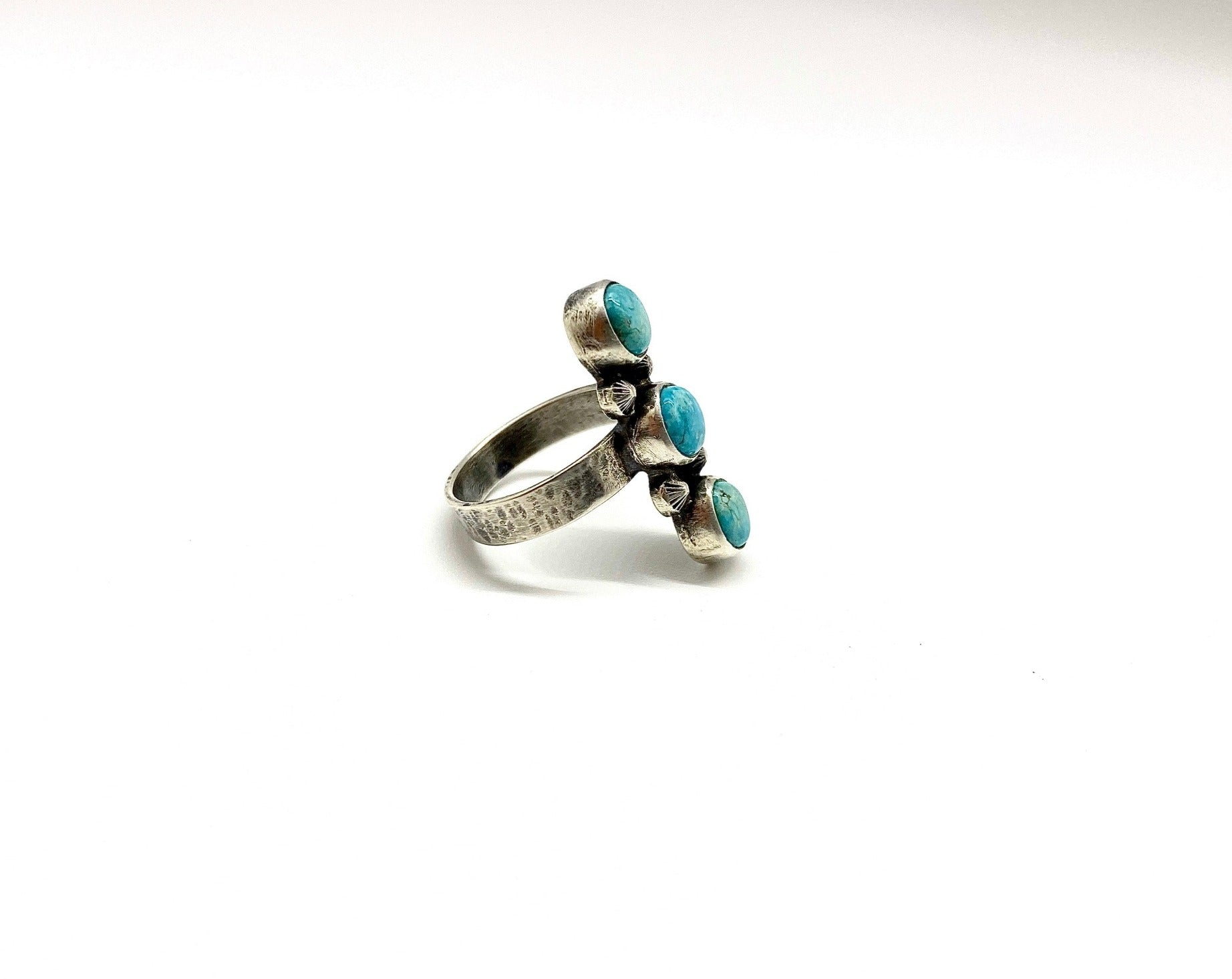 Silver and Turquoise Ring Claim Post Design Co Side View
