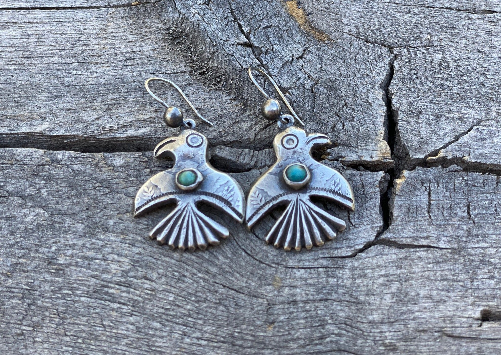 Jock Favour Silver and Turquoise Bird Earrings