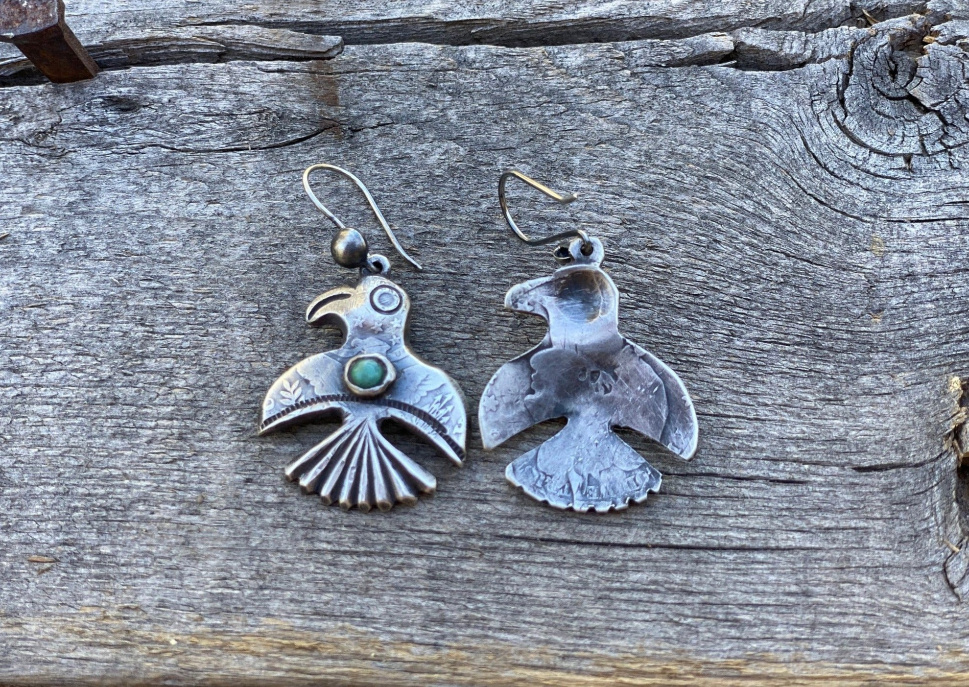 Jock Favour Silver and Turquoise Bird Earrings Back