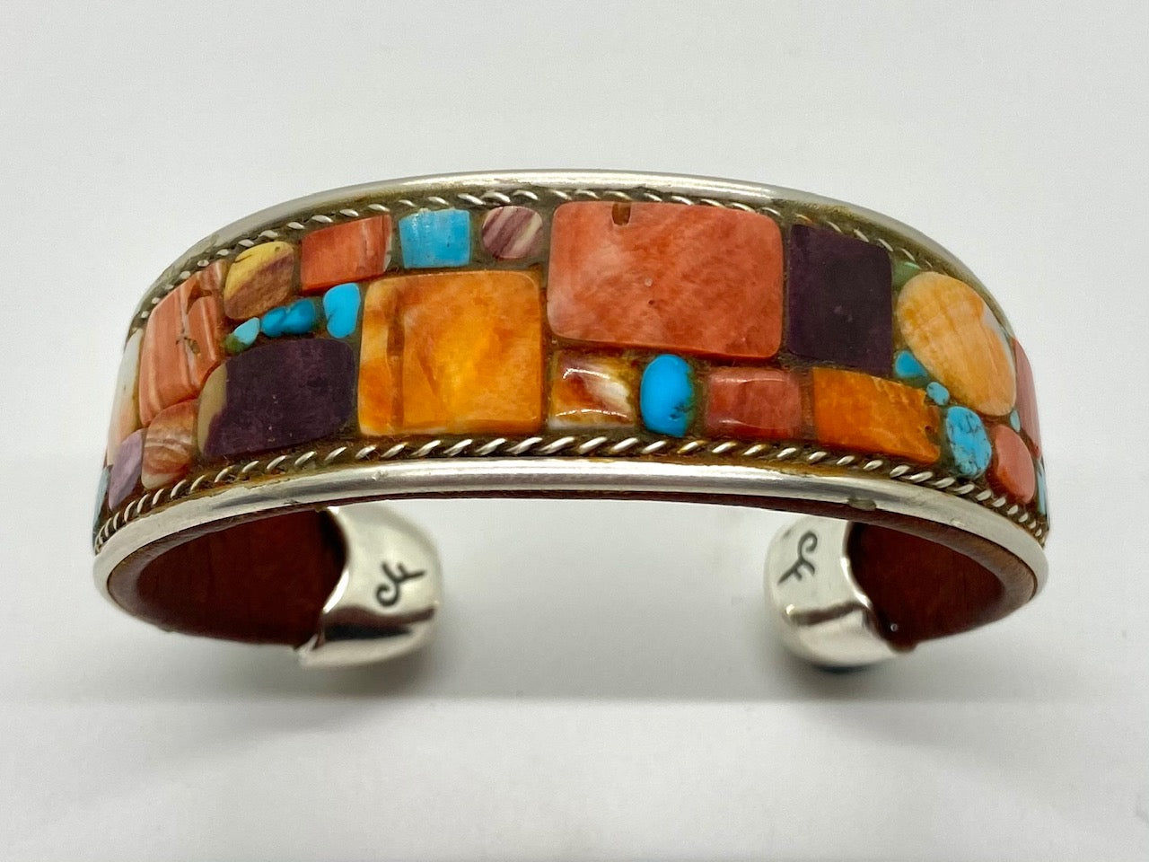 Charlie Favour Turquoise and Spiny Oyster Mosaic Inlay Bracelet