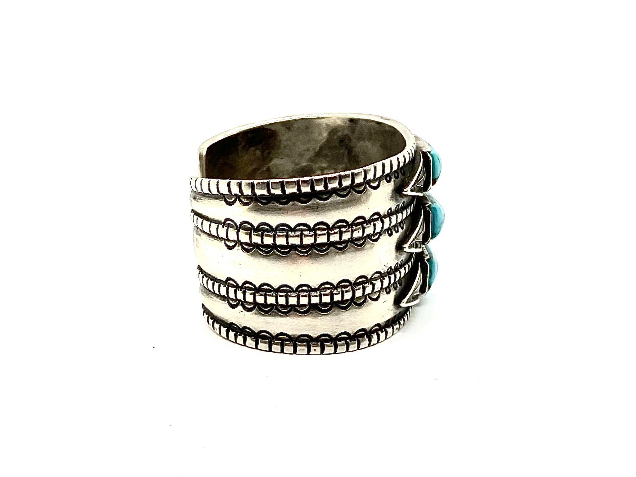 Coin Silver and Royston Turquoise Cuff