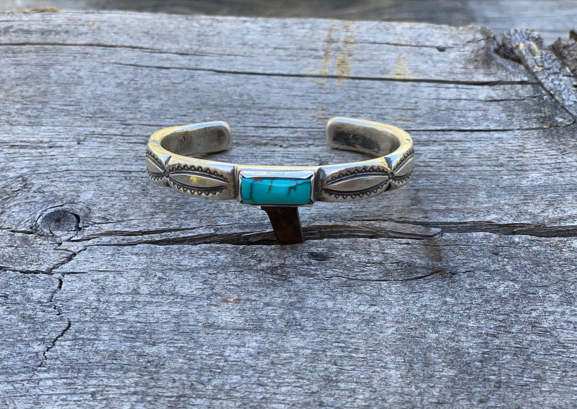 Southwest silver and turquoise bracelet with Fox turquoise