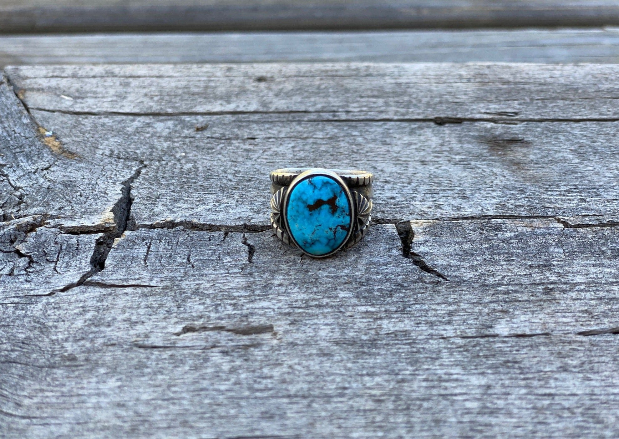 silver southwest ring with egyptian turquoise