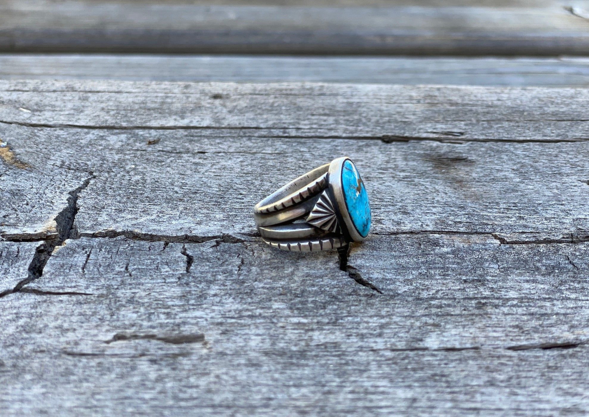 southwest silver ring with egyptian turquoise