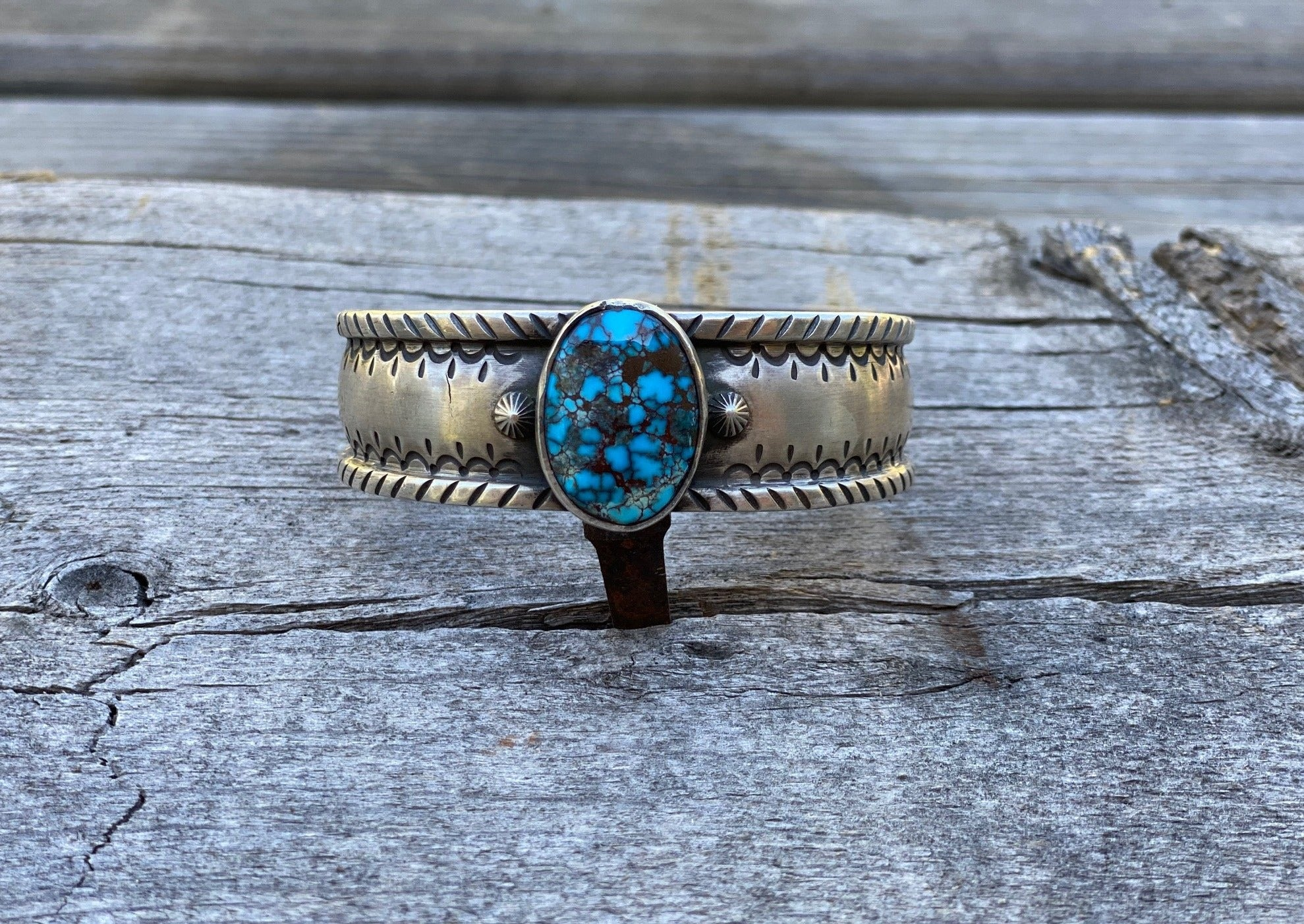 southwest silver bracelet with egyptian turquoise stone