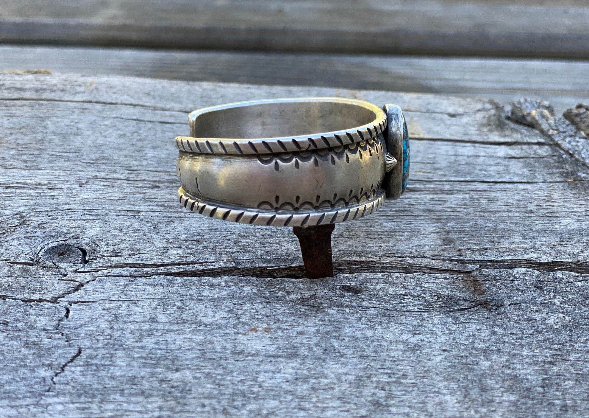 southwest silver bracelet with egyptian turquoise stone side view