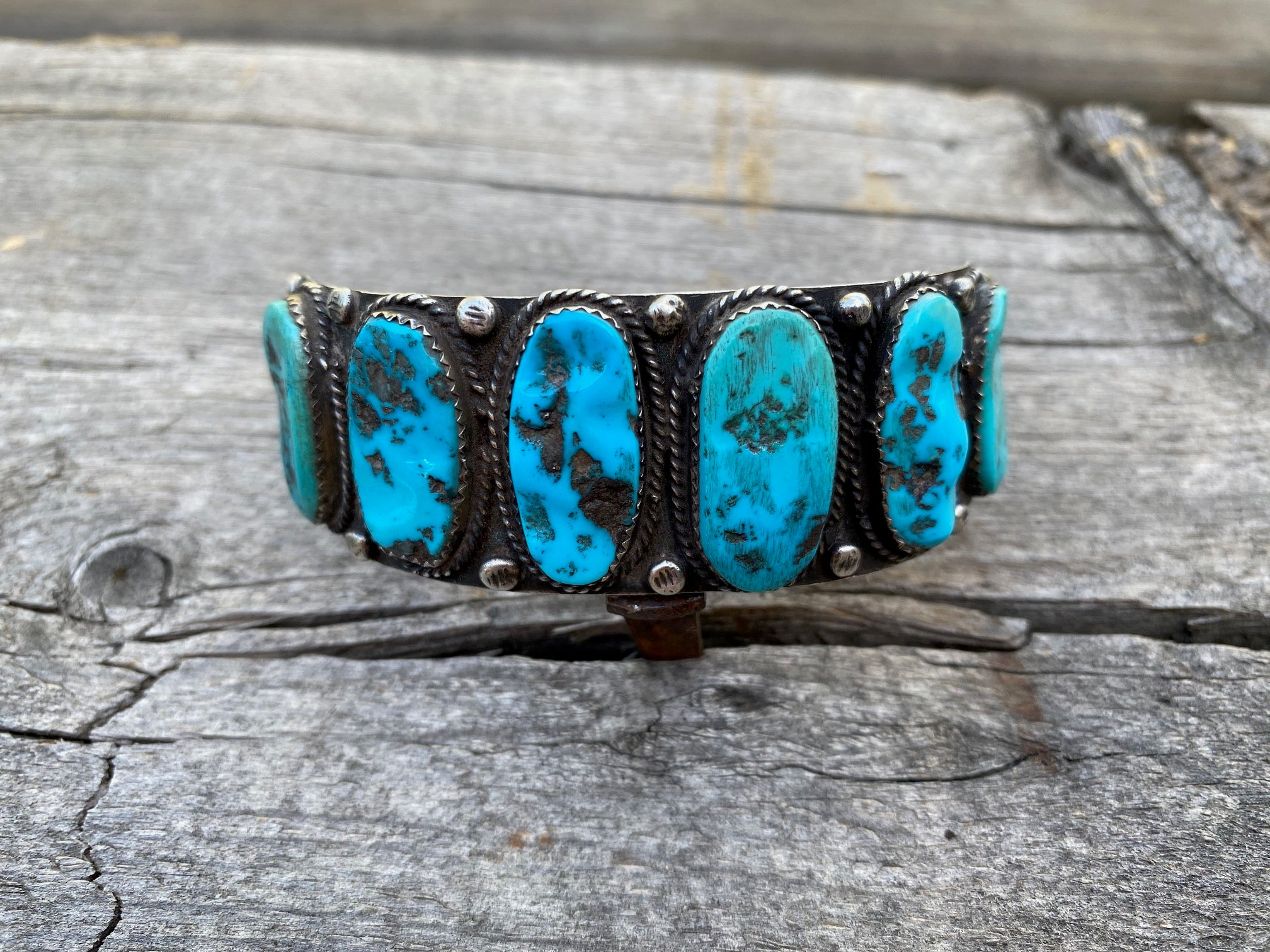 Vintage Silver and Turquoise Row Bracelet