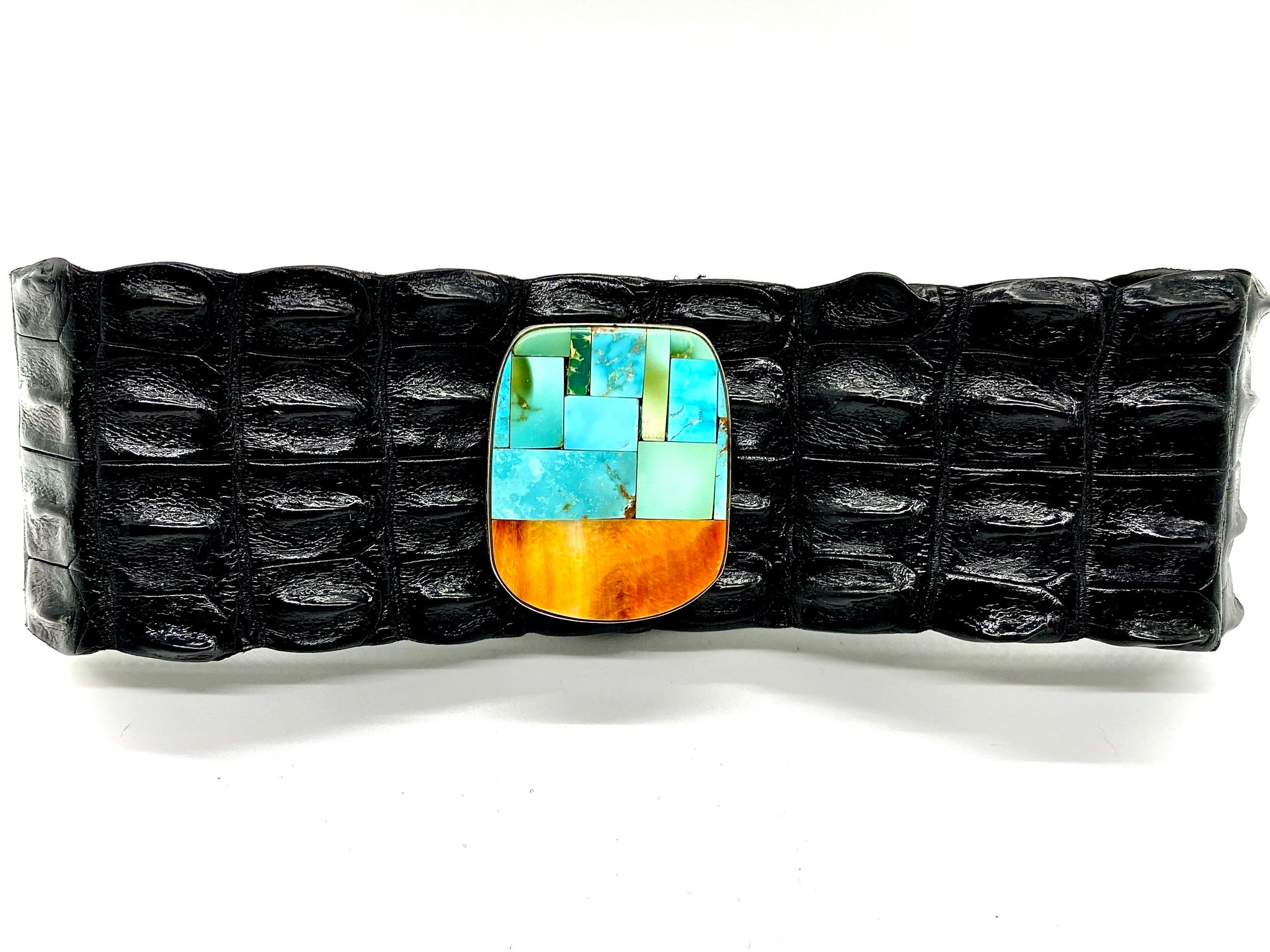 Turquoise and Orange Spiny Oyster Mosaic Crocodile Leather Choker