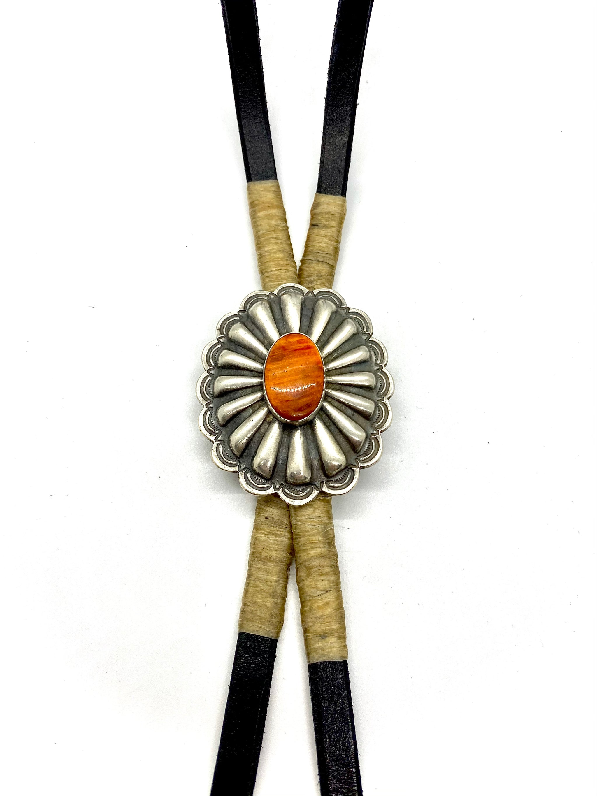 Silver Concho Bolo Tie with Orange Spiny Oyster