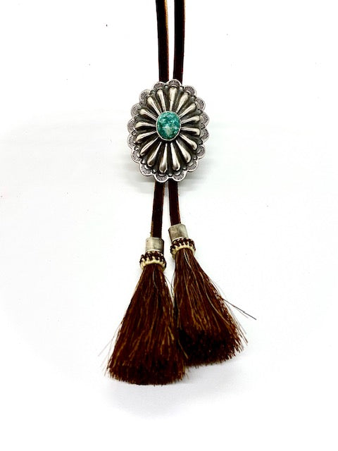 Silver and Turquoise Concho Bolo Tie with Horse Hair Tips