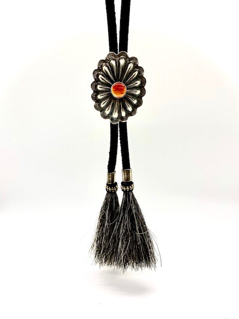 Silver and Spiny Oyster Concho Bolo Tie with Horse Hair Tips