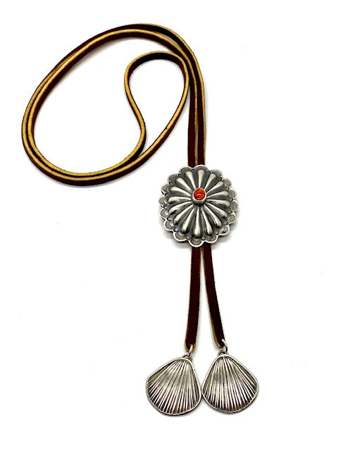 Silver and Spiny Oyster Concho Bolo Tie with Silver Seashell Tips