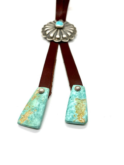Silver and Turquoise Concho Bolo Tie with Turquoise Tab Tips