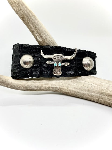 Silver and Turquoise Cow Head Choker