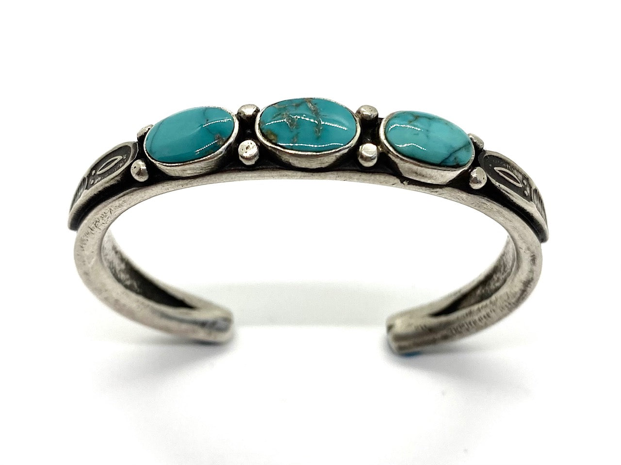 3 Stone Sterling Silver and Turquoise Bracelet