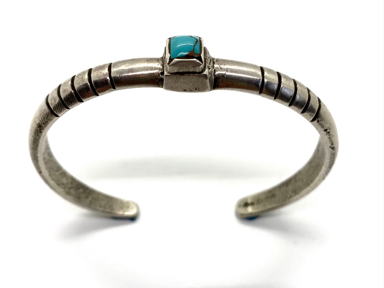 Silver Stacker Bracelet with Royston Turquoise