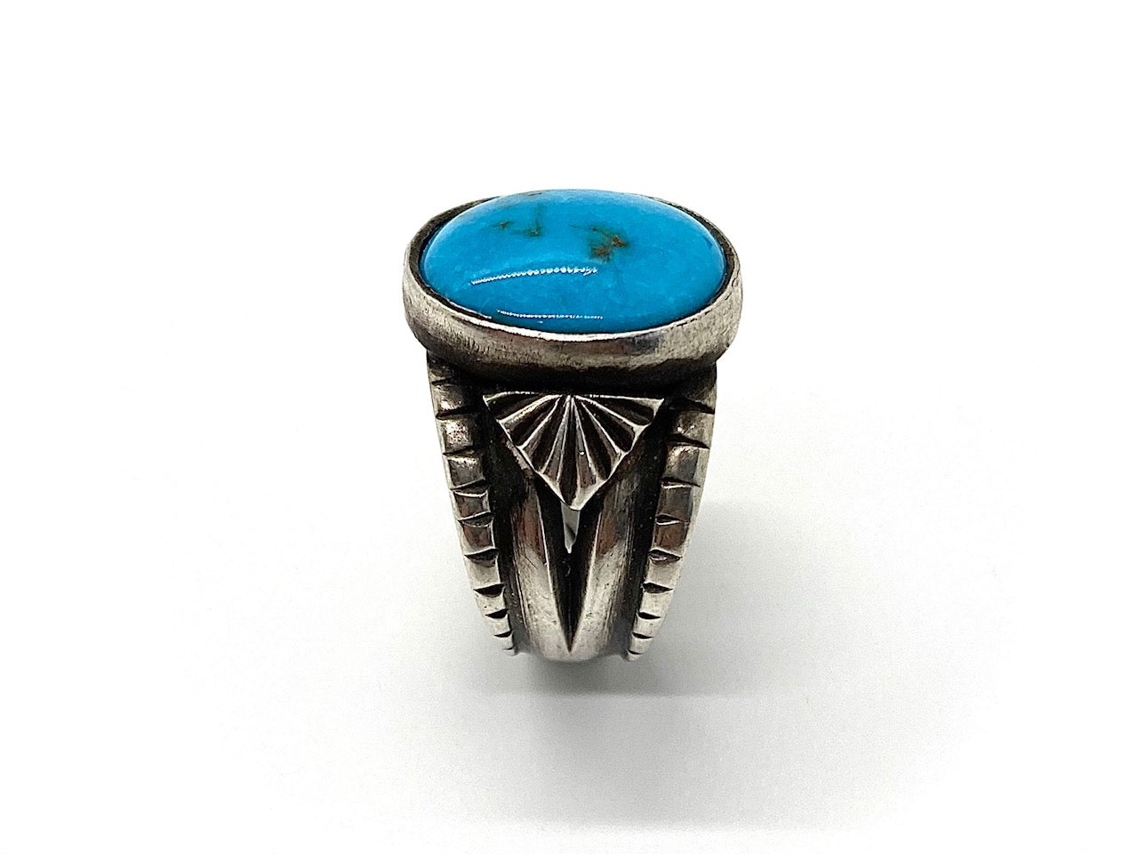 Tufa Cast Sterling Silver Candelaria Turquoise Ring
