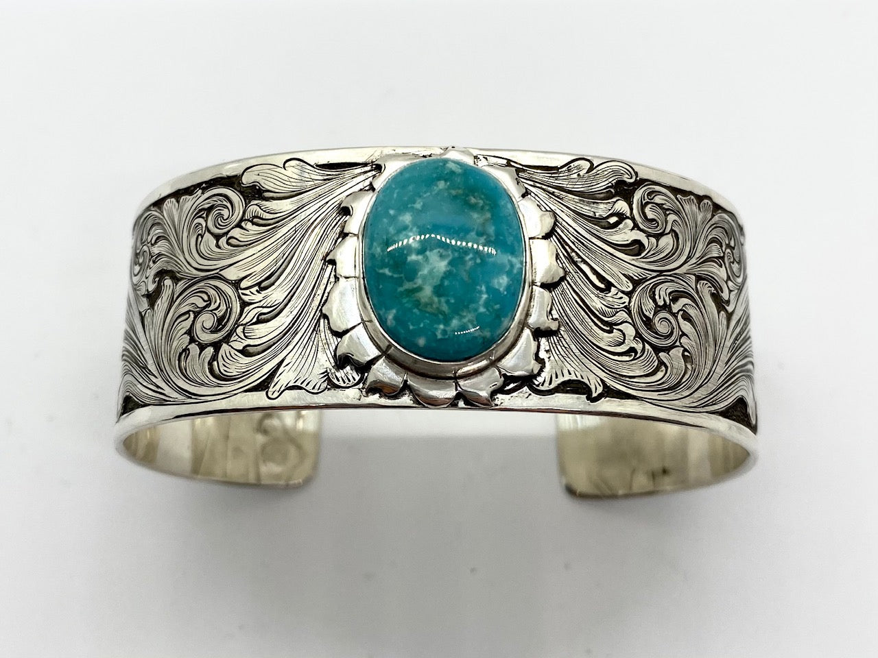 Engraved Sterling Silver Bracelet with Misty Blue turquoise stone top view