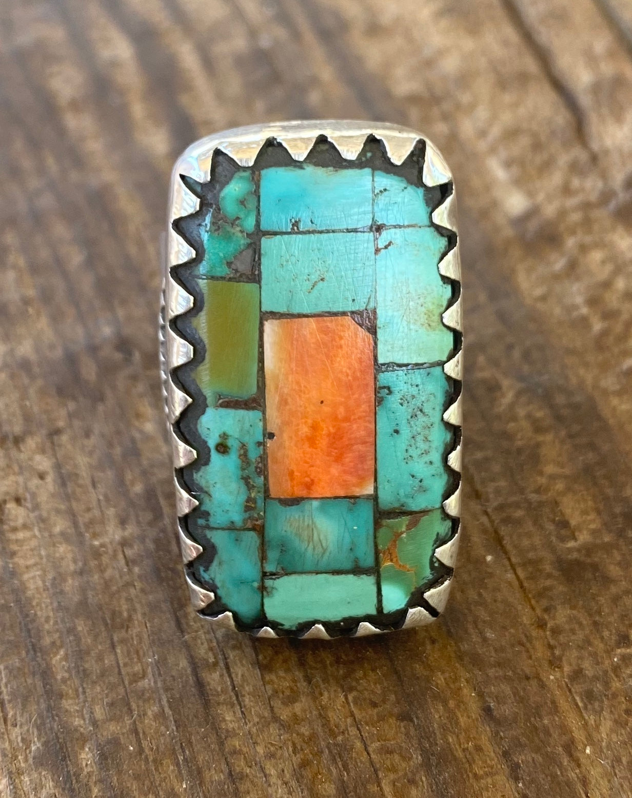 Jock Favour Turquoise and Orange Spiny Oyster Inlay Ring