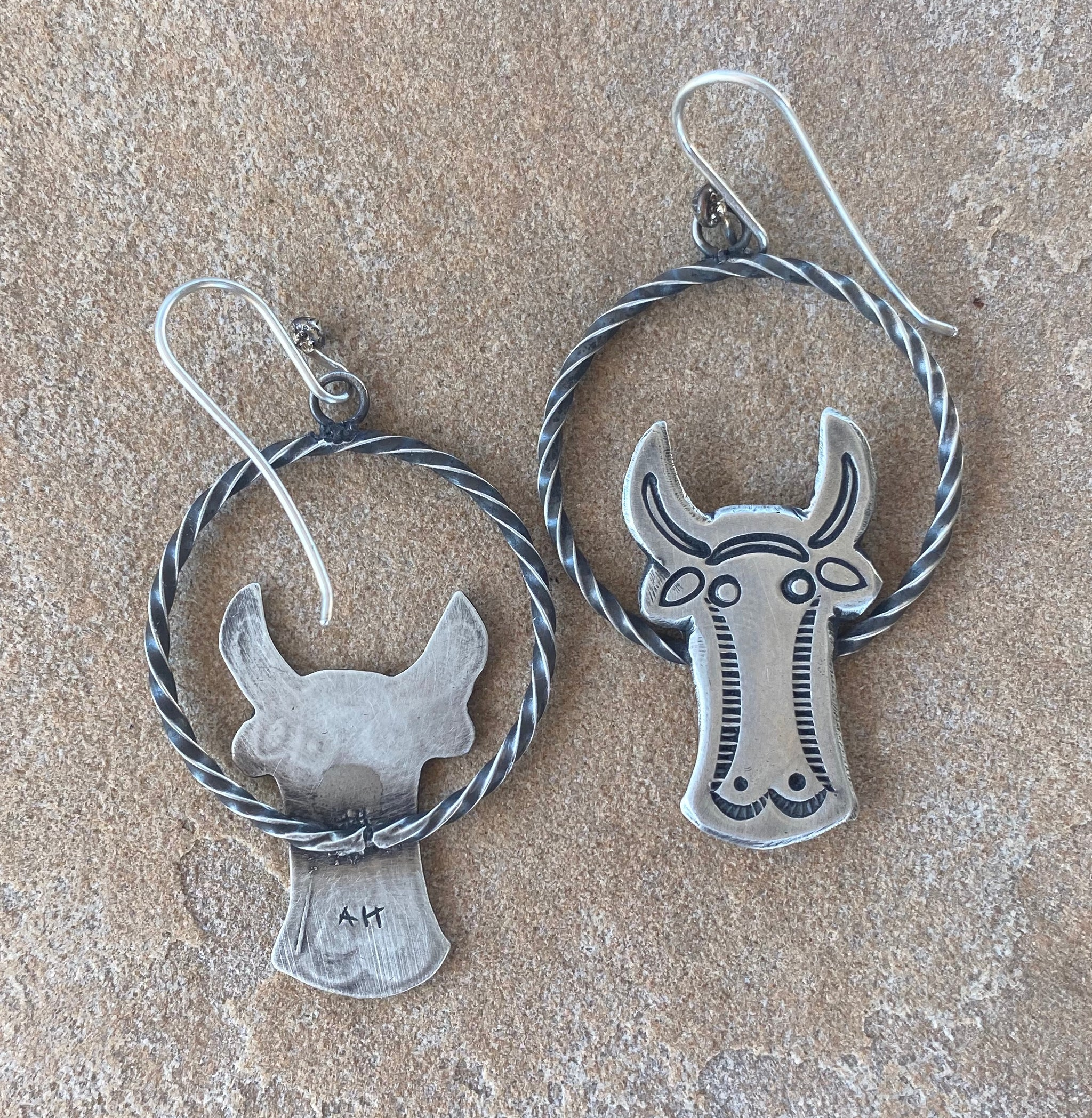 Silver Cow Head Earrings