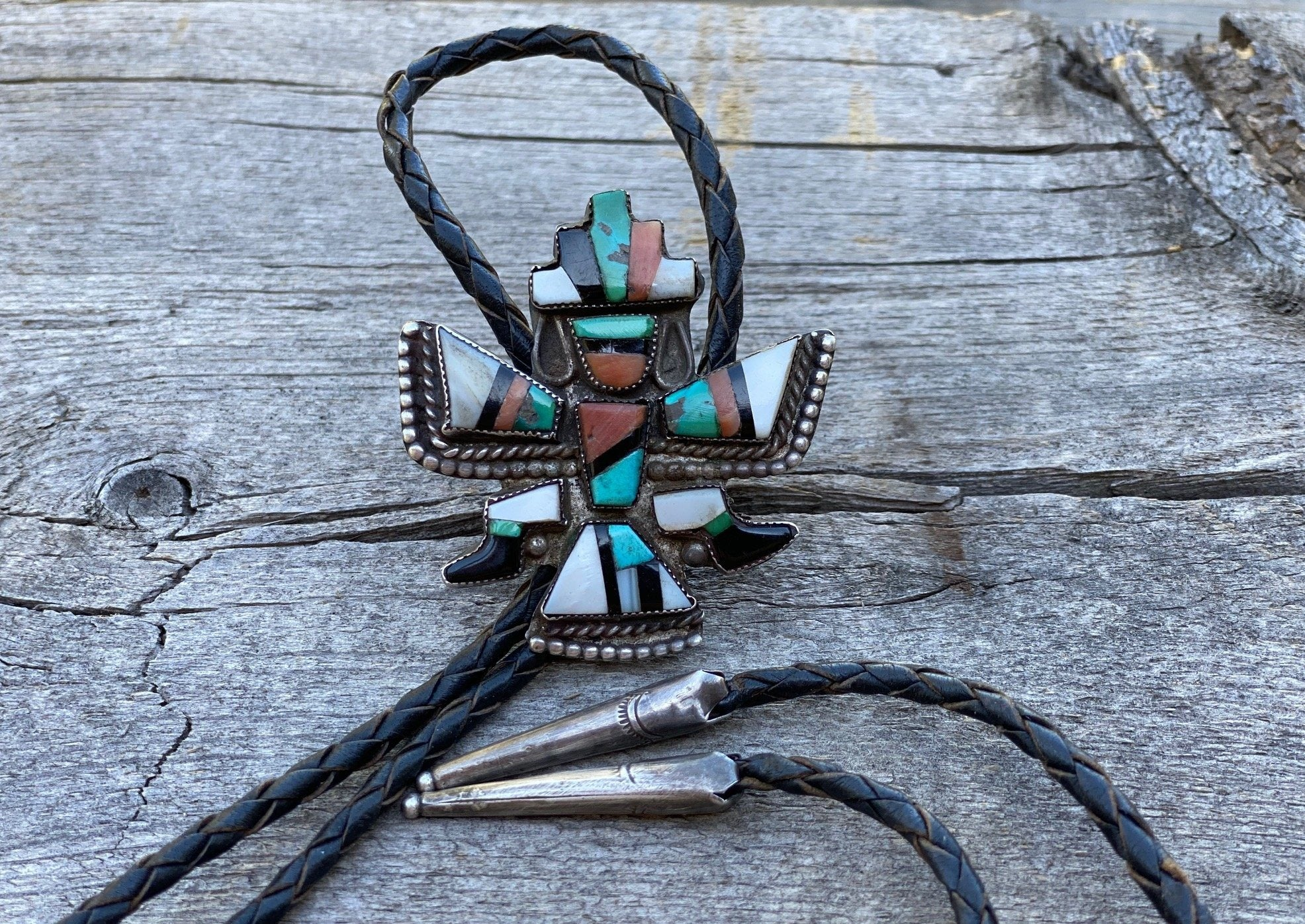 Southwest Zuni Bolo Tie Turquoise Mother of Pearl Black Jet Coral on Black Braided Leather with Silver Tips