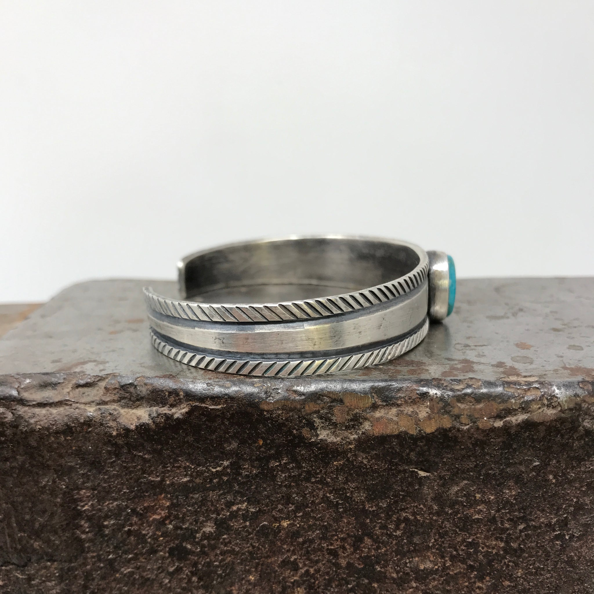 Hand Stamped Sterling Silver Southwest Cuff with Misty Blue Turquoise