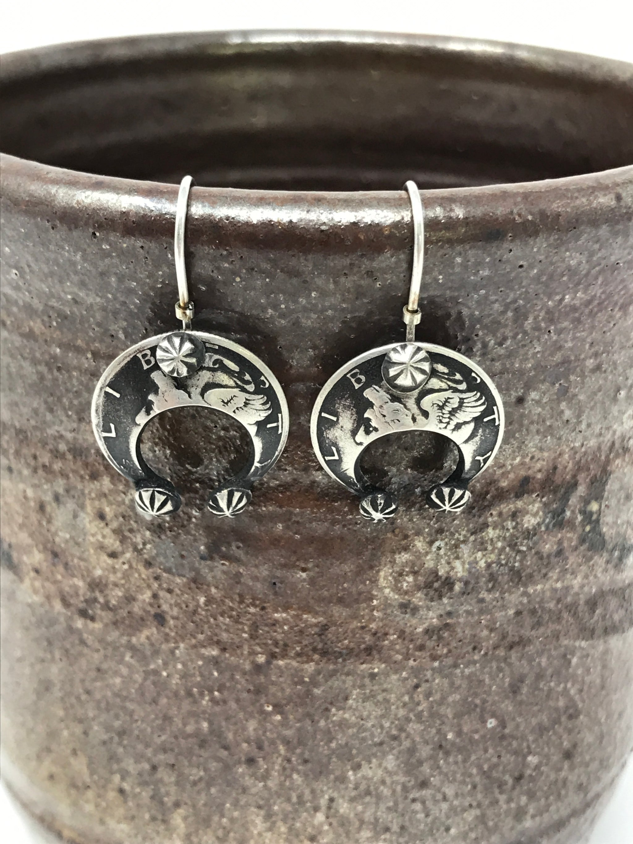 Silver Naja Earrings made from Mercury Dimes