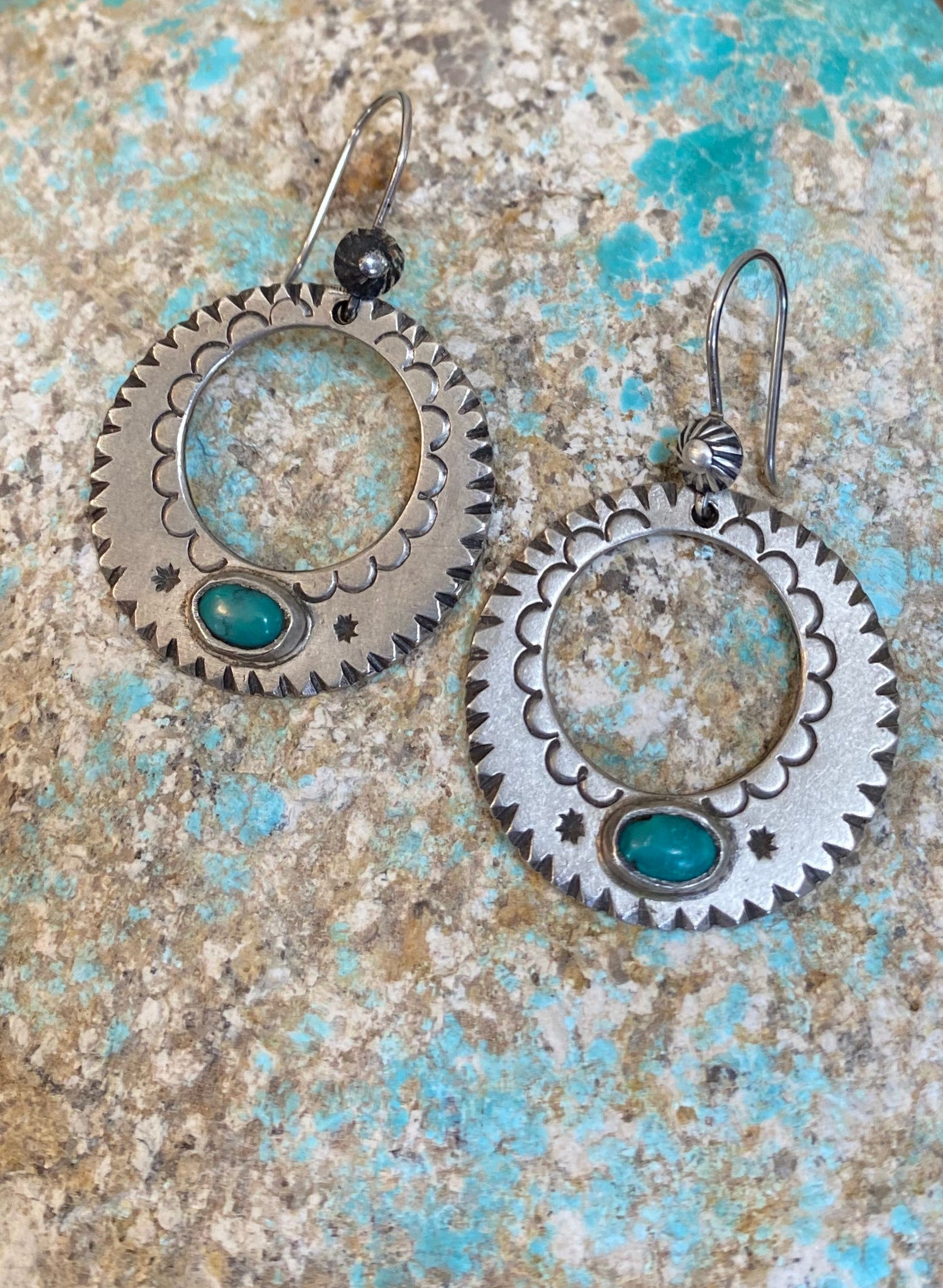 Jock Favour Hoop Earrings with Turquoise.